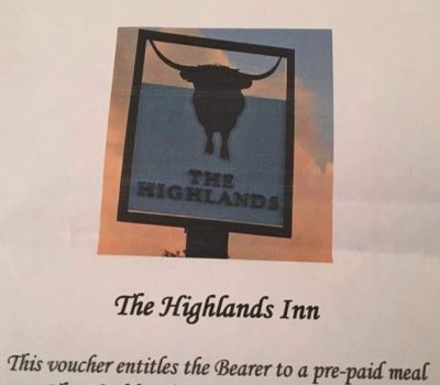The Highlands Inn have donated  to  the auction a meal voucher to the value of £50.